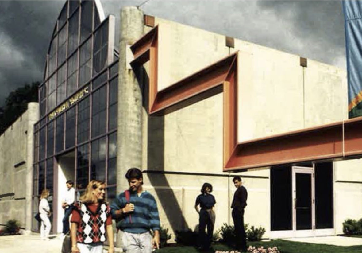Front of Schneider Building in 1988 at the Schneider Museum of Art at Southern Oregon University