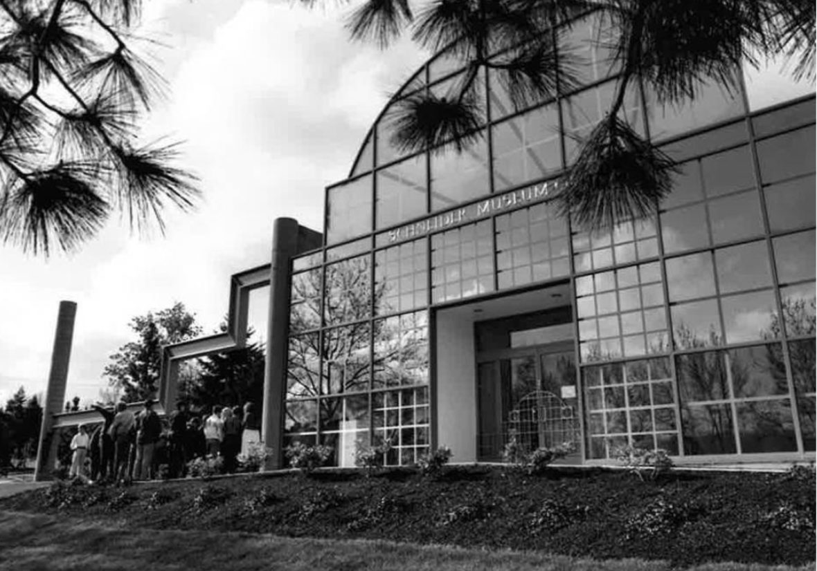 Front Face of Schneider 1988 in Black and White at the Schneider Museum of Art at Southern Oregon University